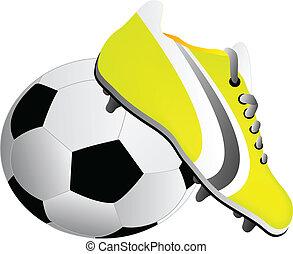 futball cipő, és, labda