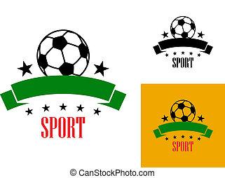 futball, embléma, vagy, labdarúgás