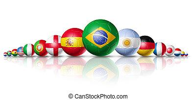 futball foci, herék, csoport, noha, brigád, zászlók
