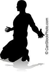 futball foci, játékos, árnykép