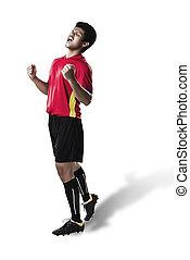 futball foci, játékos, fiatalember, boldogság, öröm, térdelés, alatt, árnykép