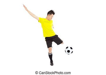 futball foci, játékos, fiatalember, rúgás, labda