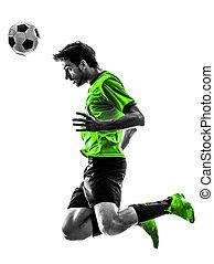 futball foci, játékos, fiatalember, rovat, árnykép