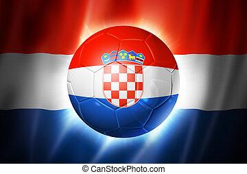 futball foci, labda, noha, croatia lobogó