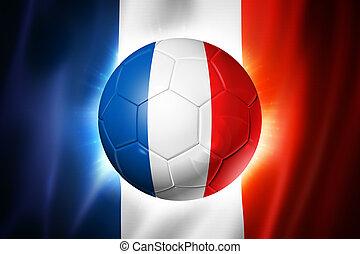 futball foci, labda, noha, france lobogó