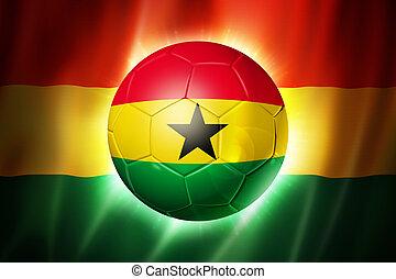 futball foci, labda, noha, ghana lobogó