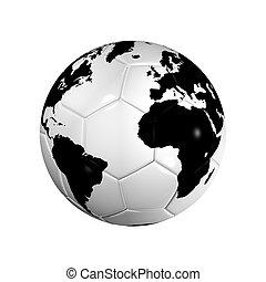 futball foci, labda, világ földgolyó