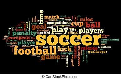 futball, fogalom, alatt, szó, címke, felhő