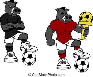 futball, futbol, erős, vad, ordít, karikatúra, állhatatos