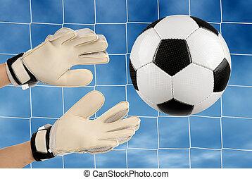 futball, goalie?s, kézbesít, action