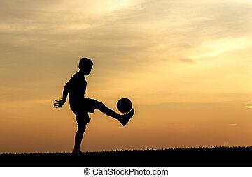 futball, gyakorló, sunset.