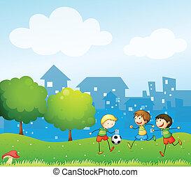 futball, gyerekek, játék, három, hegy