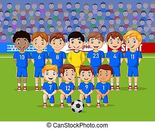 futball, gyerekek, karikatúra, stadion, befog