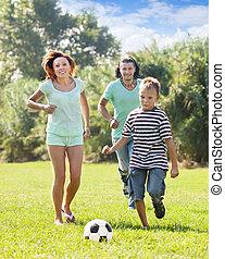 futball, három, család, játék