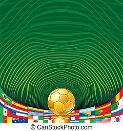 futball, háttér, noha, arany-, csésze, és, flags.