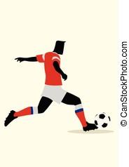 futball, hím, játék, alak