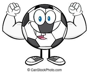 futball, hajlító, labda, boldog