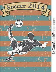 futball játékos, árnykép, vagy, sport