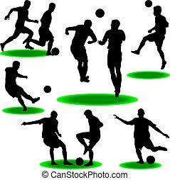 futball játékos, árnykép, vektor