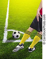 futball játékos, alatt, egy, szögletrúgás