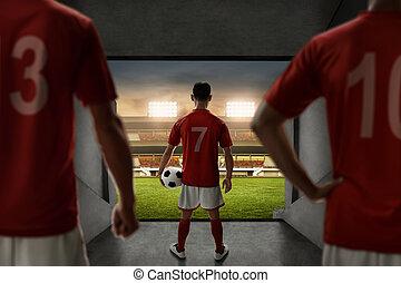 futball játékos, befog, álló, képben látható, stadion, belépés