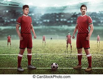 futball játékos, befog, csoport