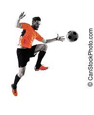 futball játékos, ember, elszigetelt, árnykép