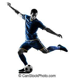 futball játékos, ember, rúgás, árnykép, elszigetelt