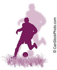 futball játékos, fű