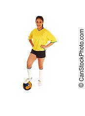futball játékos, girl.