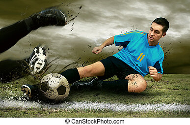 futball játékos, képben látható, a, mező