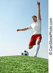futball játékos, kiabálás