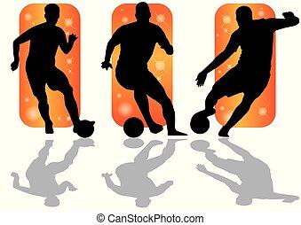 futball játékos, lövés, árnykép