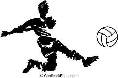 futball játékos, lövés, alatt, fekete-fehér