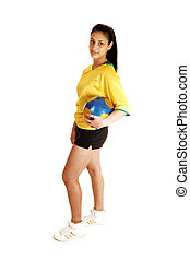 futball játékos, leány, alatt, profile.