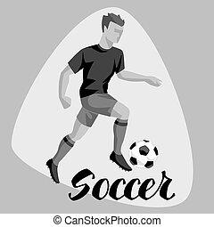 futball játékos, noha, ball., sport, labdarúgás, ábra