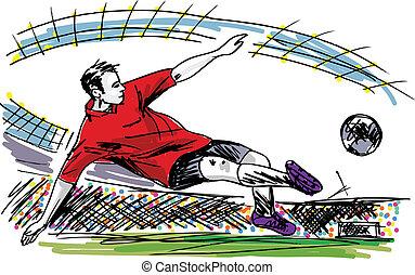 futball játékos, rúgás, ball., vektor