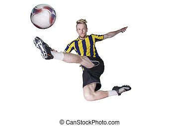 futball játékos, rúgás labda