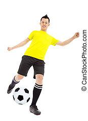 futball játékos, rúgás, labda