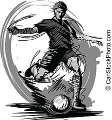 futball játékos, rúgás, labda, vektor, én