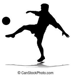 futball játékos, vektor, árnykép