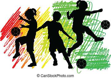 futball, körvonal, gyerekek, fiú, lány