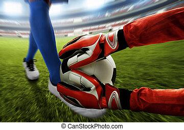 futball, kapus, beakad, a, labda