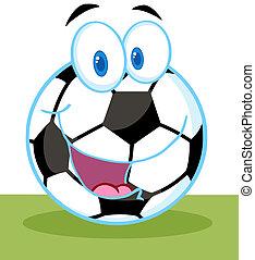 futball, karikatúra, labda
