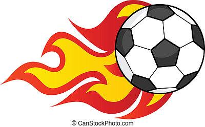 futball, lángoló, labda