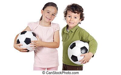 futball labda, imádnivaló, két gyerek