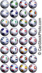 futball labda, noha, minden, zászlók, közül, dél-afrika, világbajnokság, versenytárs