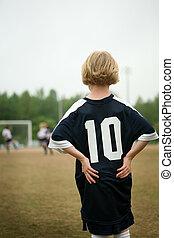 futball, /, labdarúgó, leány