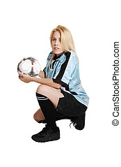 futball, leány, noha, ball.