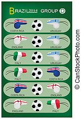 futball, lovagi torna, közül, brazília, 2014, csoport, átmérő